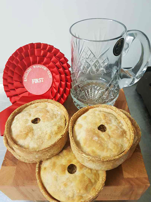 Dales Butchers prize for winning the Speciality Hot Eating Pie category at the English Winter Fair