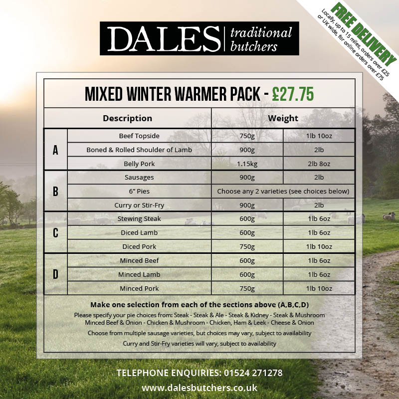 winter offers at dales butchers - mixed winter warmer pack