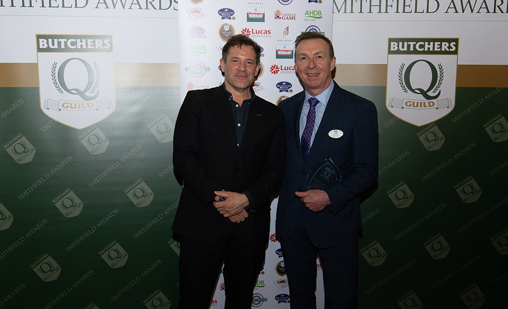 Phil Keenan collects the Smithfield Award on behalf of Dales Traditional Butchers from chef and tv presenter Matt Tebbutt for Best English Lamb Product