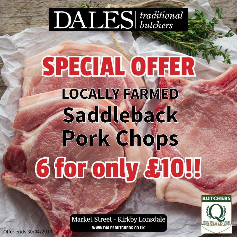 details of a pork chops special offer at dales butchers