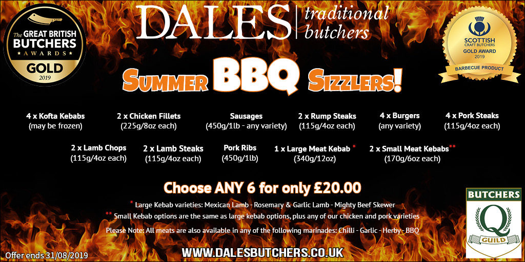 This is an image displaying a great value BBQ pack offer at Dales Butchers. Choose 6 products out of the 11 for only £20
