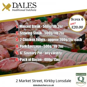 details of the super 6 special offer at Dales Butchers