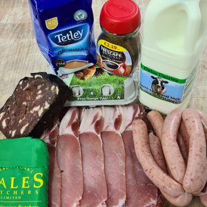a delicious selection of bacon, sausage, free range eggs, homemade black pudding, and more