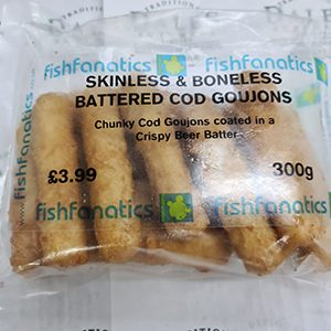 delicious, crisply battered cod goujons